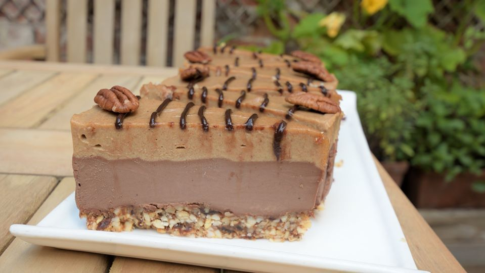 Raw Salted Caramel Cheesecake with Mixed Nut Base.